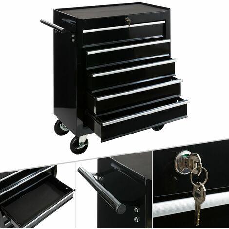 Werkstattwagen (5 Fächer, abschließbar, Antirutschmatten, 4 Räder, Festellbremse, pulverbeschichtet, schwarz) Werkzeugwagen Werkzeugschrank Werkzeug Rollwagen