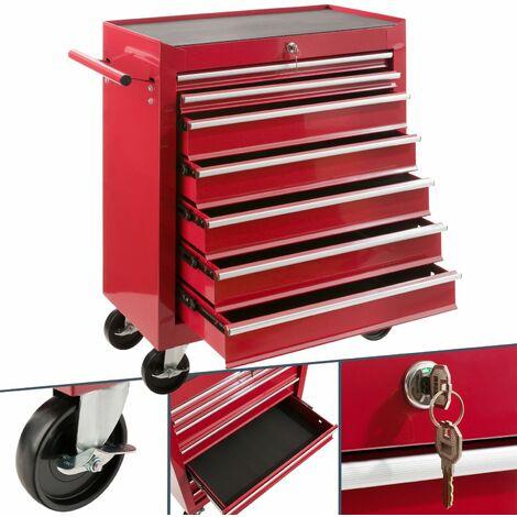 Werkstattwagen (7 Fächer, kugelgelagert, abschließbar, Antirutschmatten, pulverbeschichtet) - Werkzeugwagen Kugelgelagert Werkzeug Rollwagen - rot