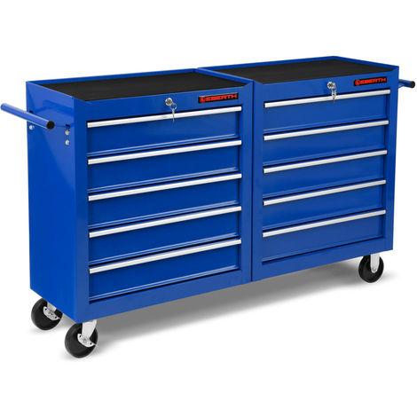 Werkstattwagen Rollwagen Werkzeugwagen (10 kugelgelagerte Schubfächer, abschließbar, 4 Räder, Feststellbremse, pulverbeschichtet, blau)