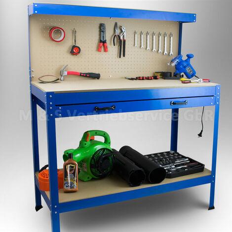 Werktisch Werkbank Arbeitstisch Arbeitsplatte Lochwand Schublade Werkstatt Kompakte Werkbank mit 115 x 55 x 140 cm