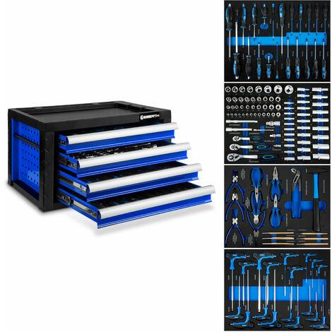 Werkzeugkiste blau inkl. Werkzeug (4 kugelgelagerte Schubfächer, 134 tlg. Werkzeugset in Ablage-Inlets, abschließbar, pulverbeschichtet)