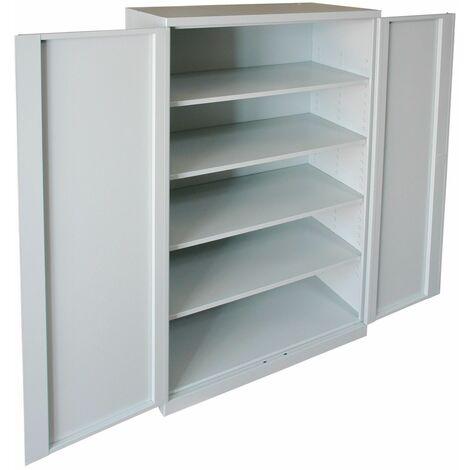 Büroschrank 2 Türen Stahl 90x40x180 cm Grau Aktenschrank Metallschrank 120 kg DE