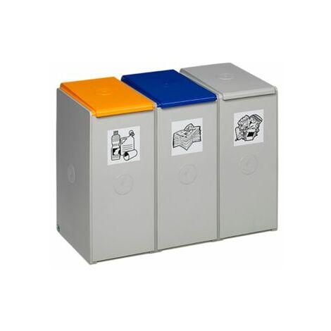 Wertstoff-Trenn- und Sammelbehälter - als 3-fach Sammelstation - für 40 l,