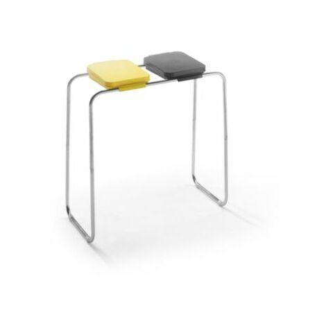 Wertstoffsammler - für 2 x 70 / 120-l-Säcke, Standgestell, Deckel gelb und