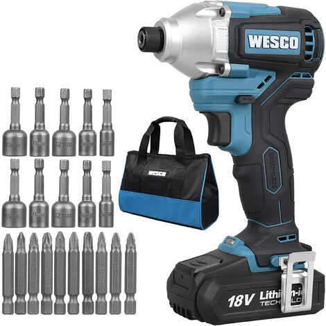 """main image of """"WESCO 18V Brushless Cordless Impact Driver, 21Pcs Accessories, 180 Nm, 2 Speed,2.0Ah Battery and Charger Included, WS2320.1"""""""