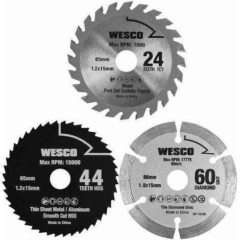 WESCO 3-pièces mini lames de scie circulaire, 85mm 24 dents TCT / 85mm 44 dents HSS / 86mm 60 GRIT DIAMOND mini lame de scie circulaire, WS9801