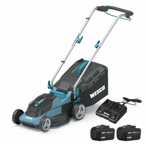 """main image of """"WESCO Cordless Lawnmower Battery Mower, 2Pcs 18V 4.0Ah Li-Ion Battery, 34cm Cutting Width, 6-Stage Cutting Height Adjustment (33-83mm), 30 Litre Grass Box, Foldable Handle /WS8701"""""""