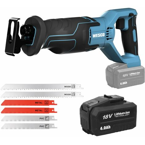 """main image of """"WESCO Cordless Reciprocating Saw 18V, 4.0Ah Li-Ion Battery, 0-3000SPM Variable Speed, 20mm Stroke Length,Tool-Free Blade Change, 6 Saw Blades Electric Saw Kits for Wood Metal / UKWS2947.1"""""""