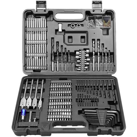 """main image of """"WESCO Drill Bit Set, 201Pcs Combination Drill Bit Sets Includes HSS Twist Drill Bits, Masonry Drill Bits, Wood Drill Bits, Driver Set, Screwdriver Bits & More in Case/WS9965"""""""