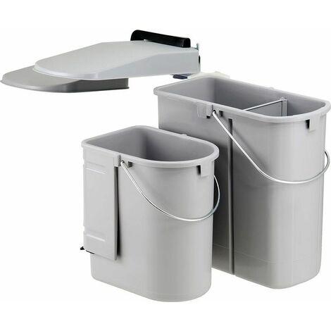 Wesco Einbaumülleimer Ökontainer Junior DT - Alugrau, 29 Liter, 2-fach Trennung