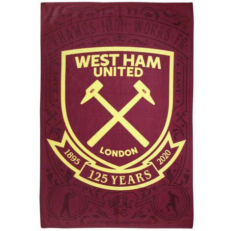 West Ham United FC Fleece Blanket (One Size) (Burgundy/Yellow)