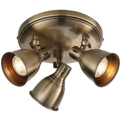 Westbury 3Lt Plate Spot Light 3.5W LED Warm White Spot Antique Brass