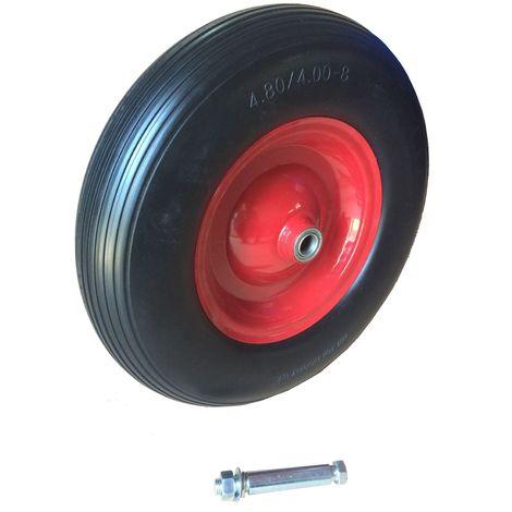 Ersatzrad pannensicher schwarz-rot Vollgummirad mit Kunststofffelge Relaxdays Schubkarrenrad 4.00-6 136kg 3 Adapter