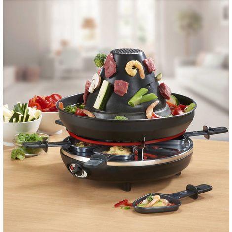 Westfalia Appareil à raclette avec chapeau tartare et fondue 3 en 1, 1500 Watt, 8 pièces