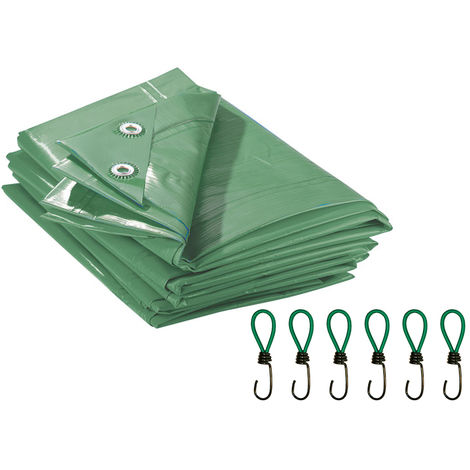 Westfalia Bâche de protection imperméable verte - 2 x 3 m - 90 g/m² avec 6 crochets élastique - usage universel