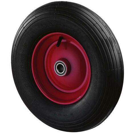 Westfalia Schubkarrenrad mit Achse - Gummirad als Ersatz für Schubkarren, Bohrung 20 mm, Gewinde 12 mm (farblich sortiert)
