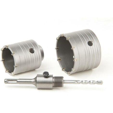 Westfalia Scie trépan carbure + arbre SDS + foret de centrage - 2 pièces diamètre 68 et 80 mm