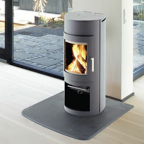 Westfire Uniq 15 Grey Modern Wood Burning Stove 5kW Glass Window Fire Log Store