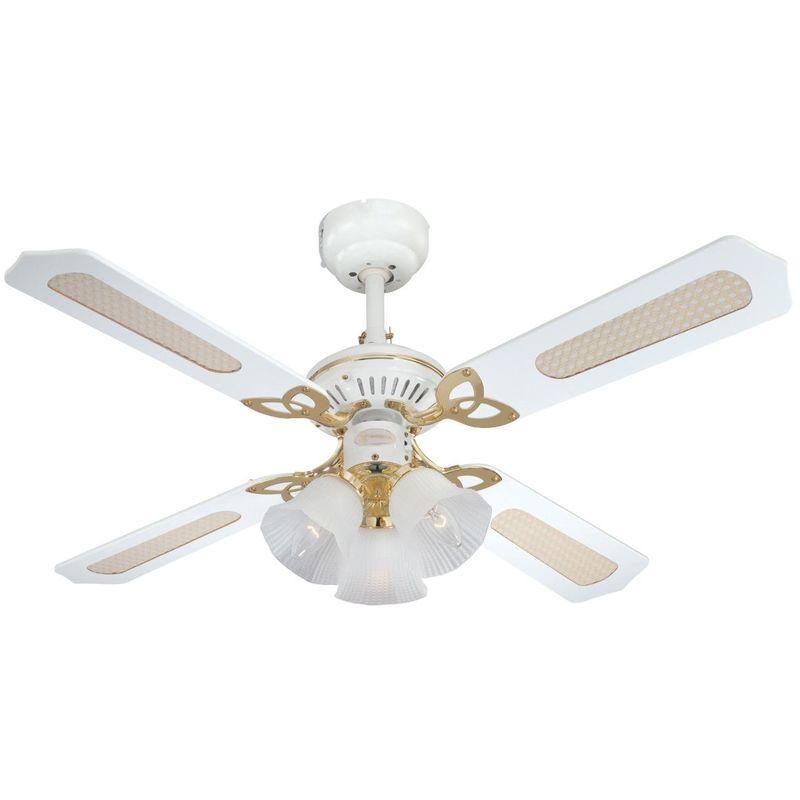 7832440 Ventilatore a Soffitto Princess Trio, Metallo, 60 watts, Bianco/Ottone Lucidato - Westinghouse