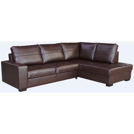 Westpoint Corner Group Sofa Brown Leather
