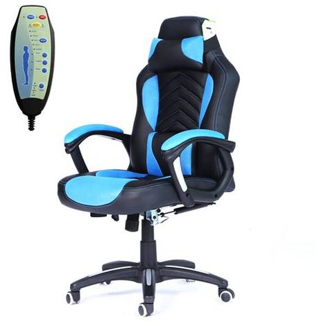 """main image of """"WestWood 6 Point Massage Office Chair MC09 Blue and Black"""""""