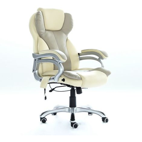 WestWood 6 Point Massage Office Chair MC8074 Cream