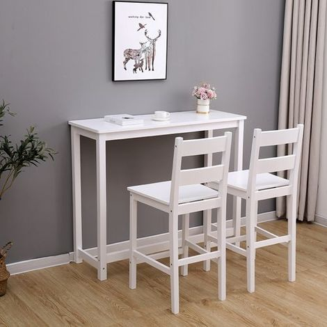WestWood Bar Table and 2 Stools Set WW-BTS02 White