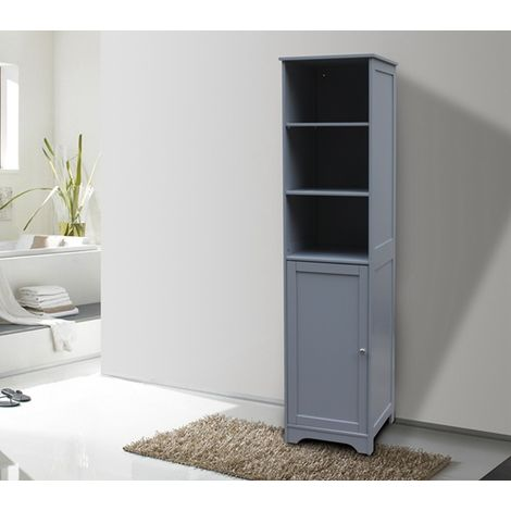 WestWood Bathroom Cabinet Tall Shelving BC06 Grey
