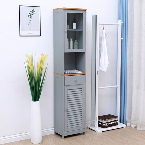 WestWood Bathroom Furniture Range 02 - Tall Cabinet Grey