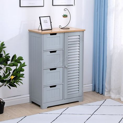 WestWood Bathroom Furniture Range 05 - 4 Drawers Cabinet Grey