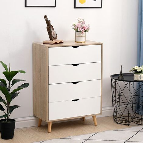 WestWood Chest of 4 Drawers Cabinet WW-PC01 Oak White