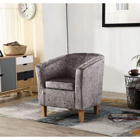 "main image of ""WestWood Crush Velvet Tub Chair TC12 Grey"""