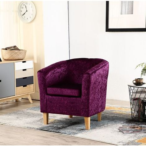 "main image of ""WestWood Crush Velvet Tub Chair TC12 Purple"""