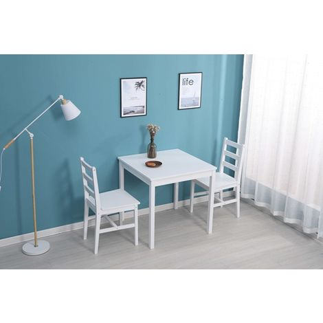 WestWood Dining Table With 2 Chair Wood DS09 White