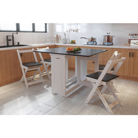 WestWood Dining Table With 4 Chair Folding Drop Leaf Wood WW-DS16 Grey