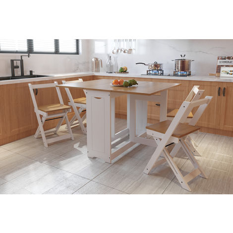 WestWood Dining Table With 4 Chair Folding Drop Leaf Wood WW-DS16 Honey