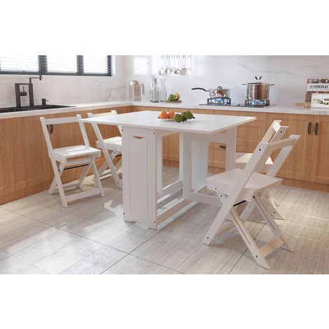 WestWood Dining Table With 4 Chair Folding Drop Leaf Wood WW-DS16 White