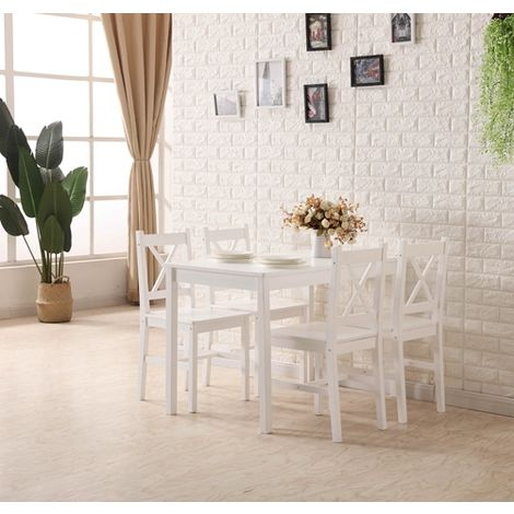 WestWood Dining Table With 4 Chair Wood DS03 white