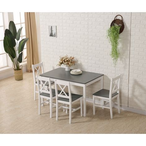 WestWood Dining Table With 4 Chair Wood FH-DS03 Grey