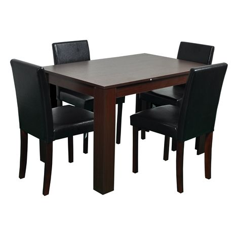 WestWood Dining Table With 4 PU Chair FH-DS04 Walnut