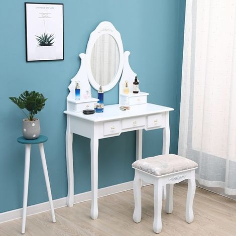 WestWood Dressing Table With Stool White DT11