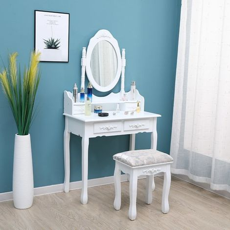 WestWood Dressing Table With Stool White DT12