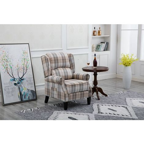 WestWood Fabric Armchair FA01 Beige Check - A933-111