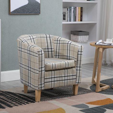 WestWood Fabric Tub Chair TC03 Cream Checked