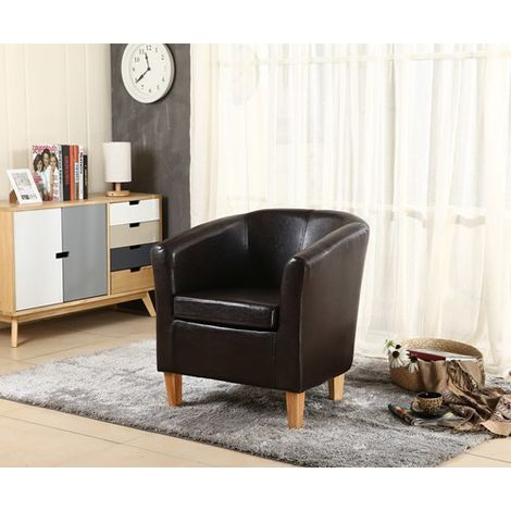 WestWood Faux Leather Tub Armchair Brown