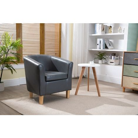 WestWood Faux Leather Tub Armchair Grey