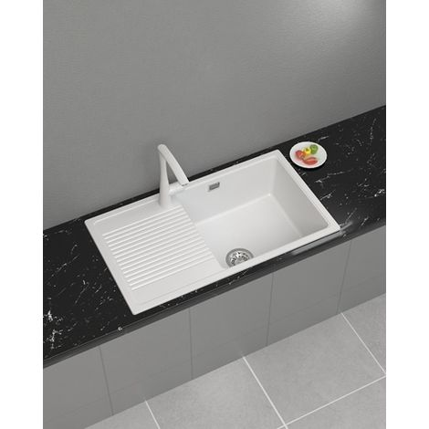 WestWood Granite Quartz Kitchen Sink GKS02 White