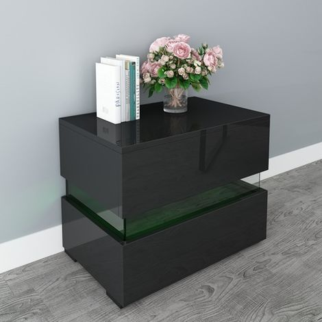 WestWood High Gloss Bedside Cabinet Unit With LED BCU15 Black