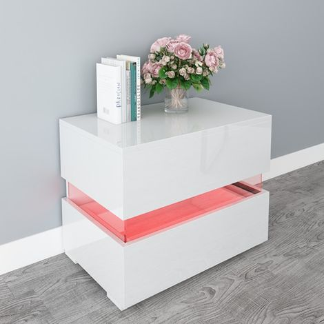 WestWood High Gloss Bedside Cabinet Unit With LED BCU15 White