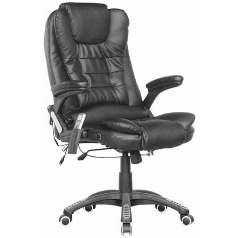 WestWood Leather 6 Point Massage Office Chair Black